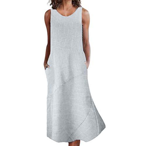 TIFENNY Long Maxi Dresses for Women Plus Size Casual Linen Dress Loose Round Neck Sleeveless Stripe Pocket Dress Gray ()