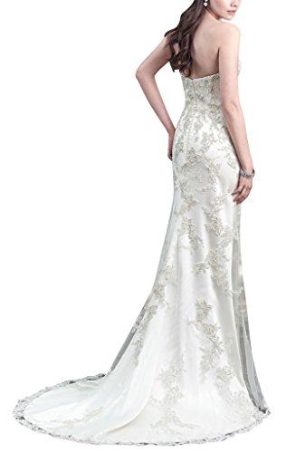 Elfenbein Schlepp Hochzeitskleid GEORGE Abnehmbare BRIDE Spitze Mesh applique n7Txqw1pF