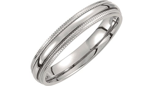Titanium 4mm Double Comfort Fit Milgrain Band Size 11.5 by The Men's Jewelry Store (Unisex Jewelry)