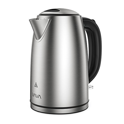 VAVA 1.7L Electric Tea Kettle with British Strix Control, Auto Shut-Off & Boil Dry Protection, 304 Stainless Steel Water Boiler with LED Light Indicator (BPA-Free/FDA Certified/UL Approved)