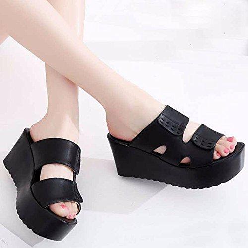 KHSKX-Die Neigung Hausschuhe Hochhackige Schuhe Mode Muffin Dicke Hintern black