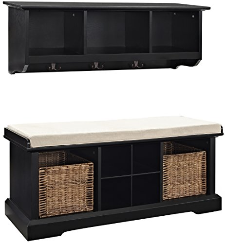 Crosley 2 Piece Brennan Entryway Bench & Shelf Set - Black