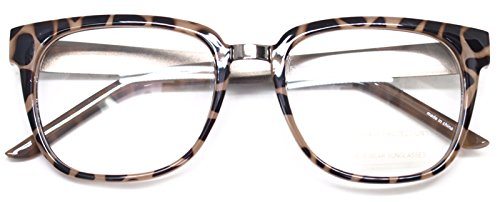 Retro Nerd Geek Oversized Framed Clear Lens Eye Glasses Spring Temple Spectacles (Tortoise - Brands Spectacle Glass