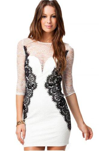 WIIPU Womens White Long Sleeve Vintage Lace Bodycon OL Pencil Dress(J2-26)