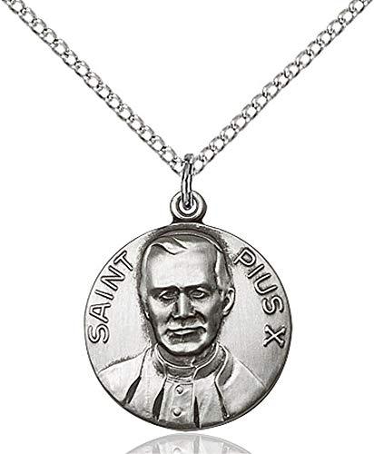 Sterling Silver Pope Pius X Pendant, Sterling Silver Lite Curb Chain Patron Saint 3/4 x 5/8