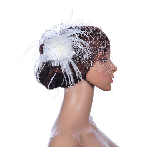 Remedios Ivory Pearl Feather Hair Flower Clip Bridal Birdcag
