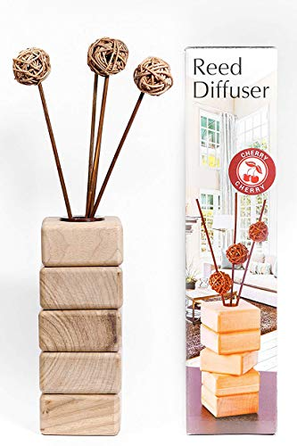 AROMCOM Decorative Reed Diffuser vase, made from natural walnut wood for home decor accents and office decor accents. 100% French Perfume composition, bottle 125 ml of Cherry Fragrance by Products from Home and Lifer