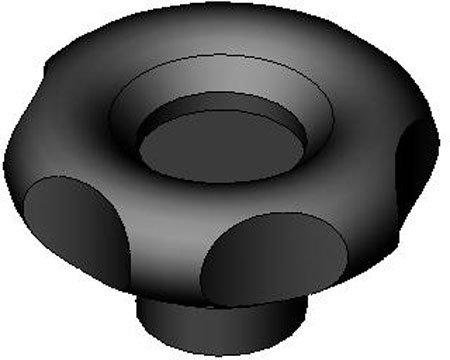 3.23 dia., 1/2-18 thds., Elesa Lobed Plastic Knob w/o Revolving Handle (1 Each)