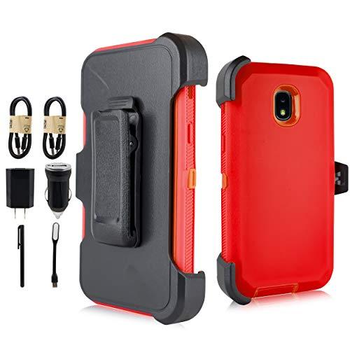 - Samsung Galaxy J3 2018, J3V J3 V 3rd Gen,Express Prime 3, J3 Star, J3 Achieve, Amp Prime 3 Heavy Duty Armor Case, Belt Clip Holster w/ [Built-in Screen Protector] Shockproof Cover [Value Set] (Red)