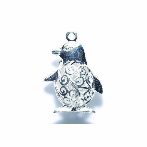 (Shipwreck Beads Zinc Alloy Filigree Penguin Charm, 24 by 34mm, Silver, 4-Pack)
