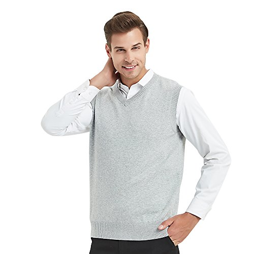 TopTie Mens Business Solid Color Plain Sweater Vest, Cotton Fit Casual Pullover-Grey-S by TopTie