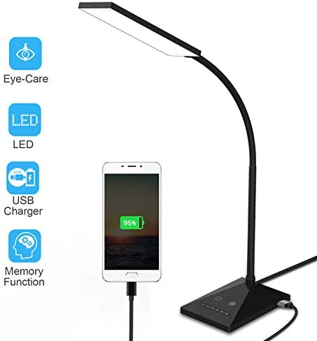 LED Desk Lamp, Eye-Caring Light Dimmable Office Table Lamp for Study Desk with USB Charging Port Touch Control Sensitive, 400LM 7-Level Dimmer 5 Color Modes, Flexible Gooseneck, Memory Function 12W