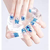 BloomingBoom 24 Pcs 12 Size Full Cover False Fake Nail Artificial Press on Salon Long Oval Rounded Almond Wedding Long Blue Glitter Crystal Drop