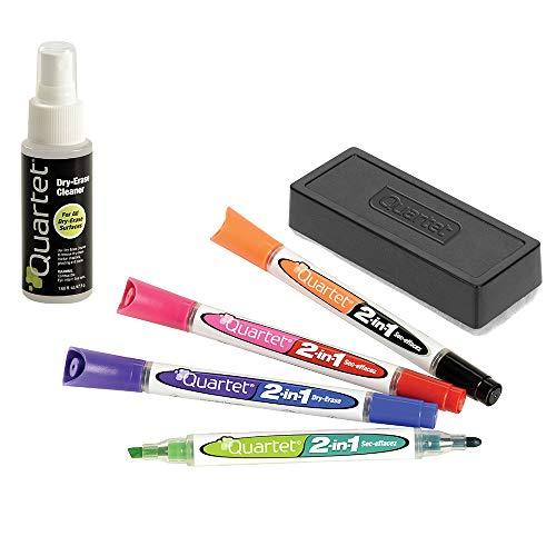 Quartet 2-in-1 Dry-Erase Marker Starter Kit, Chisel/Fine Tip, Assorted Colors, Eraser & Cleaner Included (79549A)
