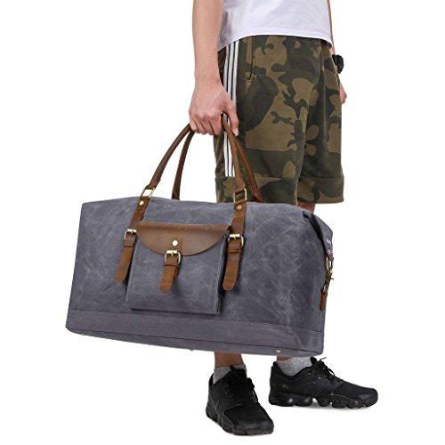 Plambag Oversized Duffel Bag, Waterproof Canvas Leather Trim Overnight Luggage Bag(Grey) by Plambag (Image #6)