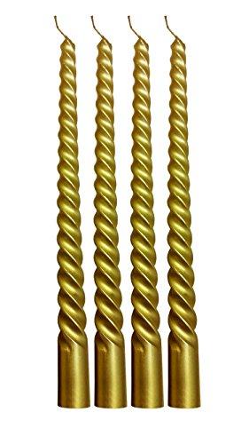 Decor Hut Metallic Wax Taper Candle Sticks Swirl Design Rich & Elelgant 10 Inches Tall Set of 4 (Gold)