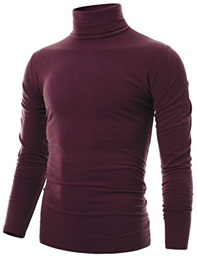 Ohoo Mens Slim Fit Soft Cotton Long Sleeve Pullover Lightweight Turtleneck /DCT001-BURGUNDY-M ()