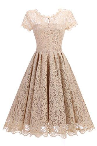 de Party Gown Robe Ball 50s Wedding dentelle marie Adodresse Knielanges en lgante de Champagne en Robe cocktail ligne Vintage ZwAzFw