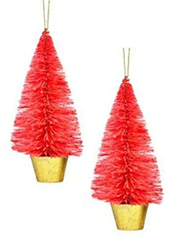 Holiday Lane Red Sisal Tree Christmas Ornaments (Set of 2)