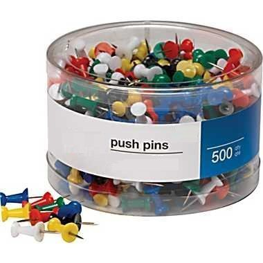 1InTheOffice Push Pins, Assorted Colors, 500 Pieces (Assorted ()