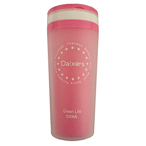 Daixers Portable Handle Plastic Insulated Thermos Double Wall Water Bottle Coffee Cup 500ml (Pink)