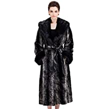 Adelaqueen Women's Elegant Black and Grey Maxi Anorak Vintage Mink Faux Fur Coat
