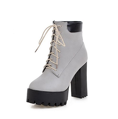 Soft Knot Boots with Gray Closed Round Toe Material High top Allhqfashion Heels Low Solid Women's 5qwCAZxO7