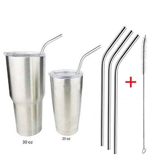 Clearance Sale!UMFun 4Pcs Stainless Steel Metal Drinking Straw Reusable Straws + 1 Cleaner Brush Kit
