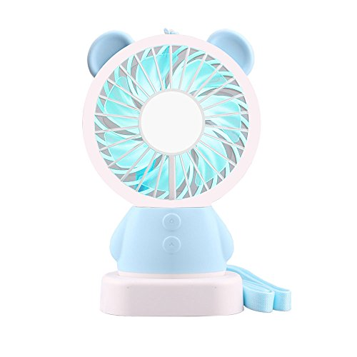 Moppson Mini Handheld Fan, USB Battery Operated Rechargeable Personal Portable Desk Cooling Fan 2 Adjustable Speeds with LED Light and Removable Base for Home Office Travel Camping (Kids Desk Net)
