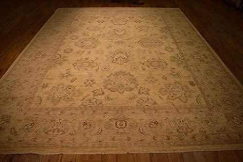 Chobi Carpet - Pale Neutral Chobi Peshawar Beige Oushak Wool Hand-Knotted Carpet 9x12 Rug