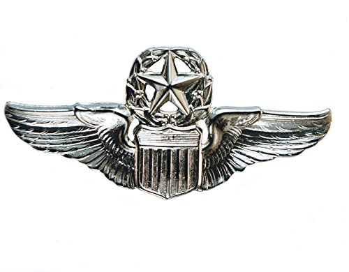 Command Pilot Silver Finish Regulation Size Wings Hat Badge Pin 2 inch HON251681s