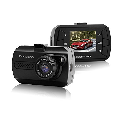 """Drivsong Dash Cam Full HD Car Camera with 1.5"""" TFT Screen, Wide View Angle Built-in G-Sensor, Loop Recording and Motion Detection(No SD Card Included)"""