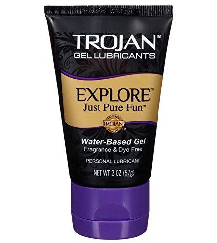 TROJAN Gel Lubricant Explore Just Pure Fun Water Base Gel Fragrance & Dye Free Gel Lubricant for Unmatched Pleasure Net Wt. 2 Oz or 57 (Gel Lubricant Water)