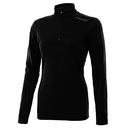 Hot Chillys Women's Micro Elite Chamois XT TS Zip-Tee, Black/Granite, Medium (Micro Elite Chamois)