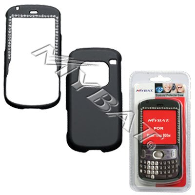 Black Rubber Feel with White Diamonds Snap-On Cover Case Cell Phone Protector for Palm Treo 800w