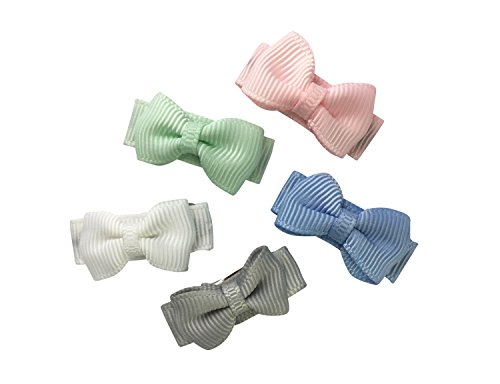 (Baby Wisp 5 Tiny Grosgrain Tuxedo Hair Bows Baby Girls Toddler Snap Clips Infant Barrettes - Fairy Tale Gift Set)