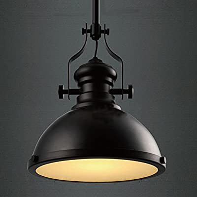 BAYCHEER HL371268 Industrial Retro Iron Light Bulb Country Painting Large Pendant Light Fixture Ceiling Lamp Chandelier with 1 Light Black