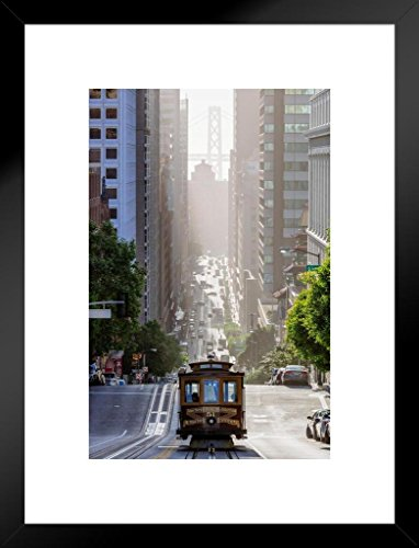 Poster Foundry Cable Car on San Francisco California Street Photo Art Print Matted Framed Wall Art 20x26 inch ()
