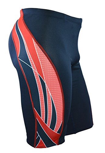 Adoretex Boy's/Men's Side Wings Swim Jammer Swimsuit (MJ009) - Navy/Red - 28