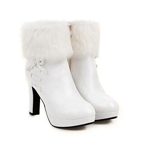 VogueZone009 Damen Hoher Absatz Niedrig-Spitze Reißverschluss Stiefel, Weiß, 43