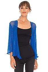 Shu Shi Womens Sheer Shrug Tie Top Cardigan Lightweight Knit One Size 2 14 Blue