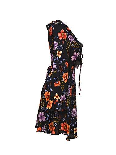 Denny Rose Vestito Floreale Inverno Autunno Abito flowers Black 19 821dd10037 Donna 2018 qq7rSw