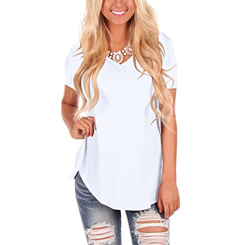 YS.DAMAI Women's V Neck Tee Shirts Short Sleeve Loose Fit Casual Summer Tee Tops (X-Large, White)