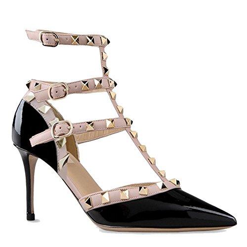 Arc-en-ciel zapatos de las mujeres de la hebilla tachonada de tacón alto de la sandalia Negro