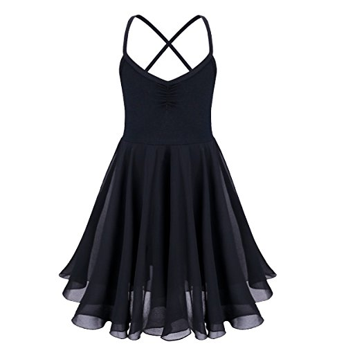 FEESHOW Kids Girls Camisole Empire Waist Ballet Leotard Gymnastics Dance Dress Black 7-8 (Kids Black Dresses)