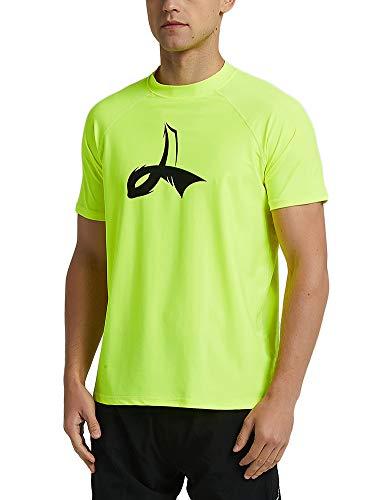 LAFROI Men's Short Sleeve UPF 50+ Loose Fit Rash Guard (Fluorescent, LG) ()