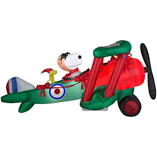 Snoopy Airplane Inflatable - 12 FOOT ANIMATRONIC Snoopy Christmas Inflatable - Lighted Snoopy in Airplane with Woodstock - The Perfect Peanuts Christmas -