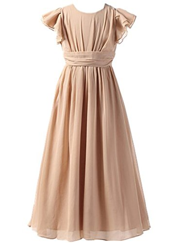 Happy Rose Flower Girl's Dress Prom Party Bridesmaid Dress Long Champagne 8