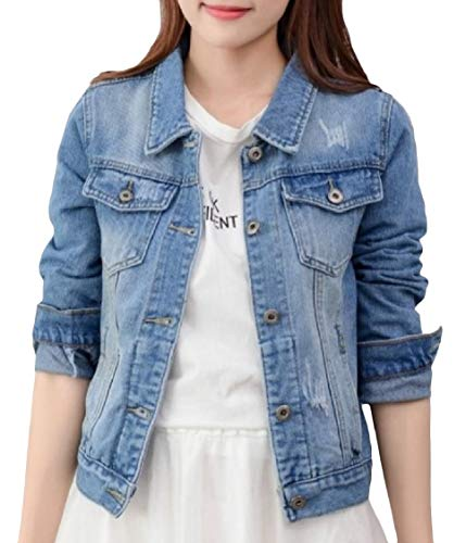 Long Blue Light Button Slim Outwear Denim Pockets Jacket Lapel EnergyWomen Sleeve dIxqwzvd6