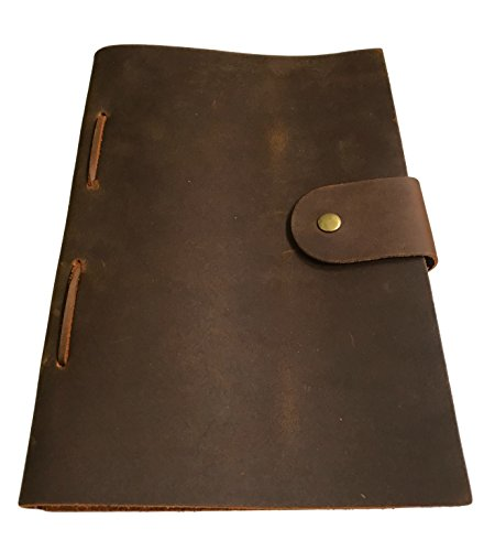 Refillable Leather Journal – 8.5 x 6 Inches Vintage Handmade Leather-Bound Notebook with Lined Paper for Writers, Travelers, and Executives – Classic …
